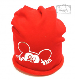 RED HAT WITH HEARTS TIED ON NECK
